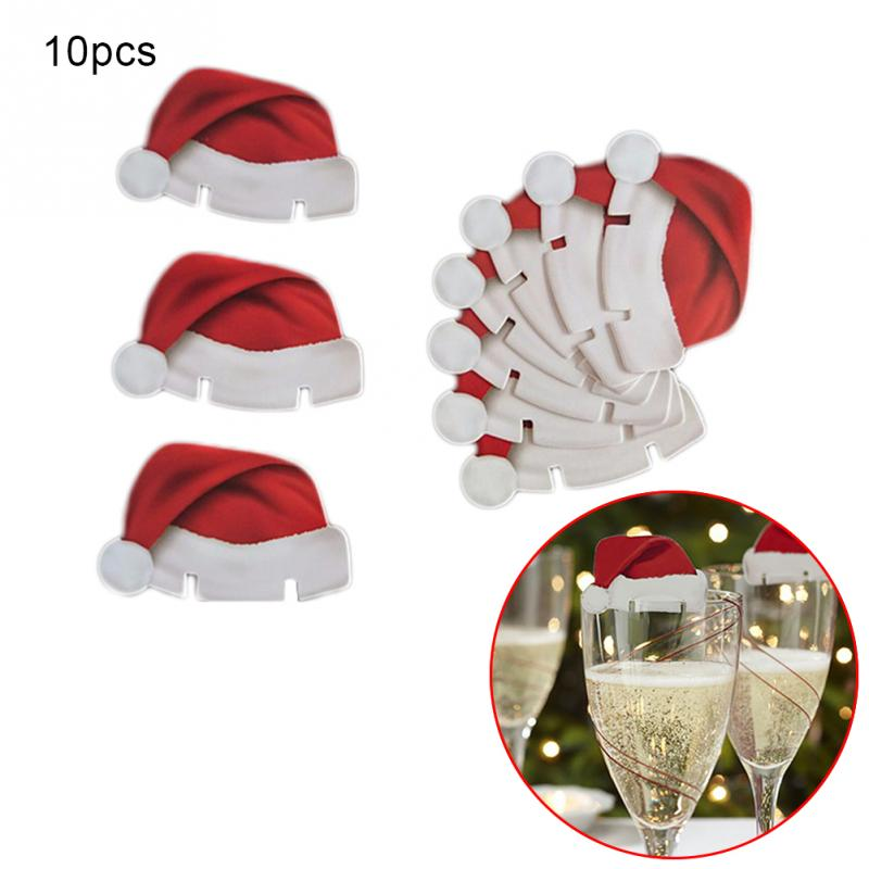 Hot Sale New 10pcs Lot Christmas Decorations Hats Champagne Glass Cover Paperboard Decoration Navidad Decor