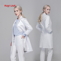High grade plastic surgery hospital chief physician uniform in the long white coat dentist tattoo artist doctor uniform