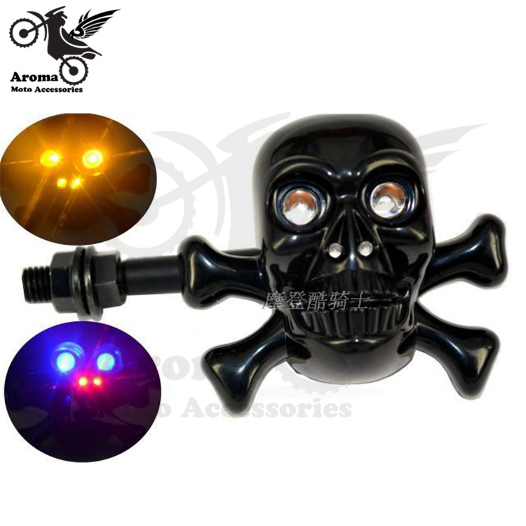 2 PCS plastic head human skeleton decal silver scooter blinker black motorbike LED motorcycle turn signal light moto flashers