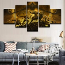 все цены на Modern Wall Art Picture Home Decor 5 Panel Game Diablo III Reaper Of Souls Character Painting On Canvas Poster And Prints Frame онлайн