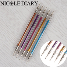 5Pcs/set Double-ended Dotting Pen Liner Pen with Glitter/Crystal Nail Art Manicure Dot Tool  8313289