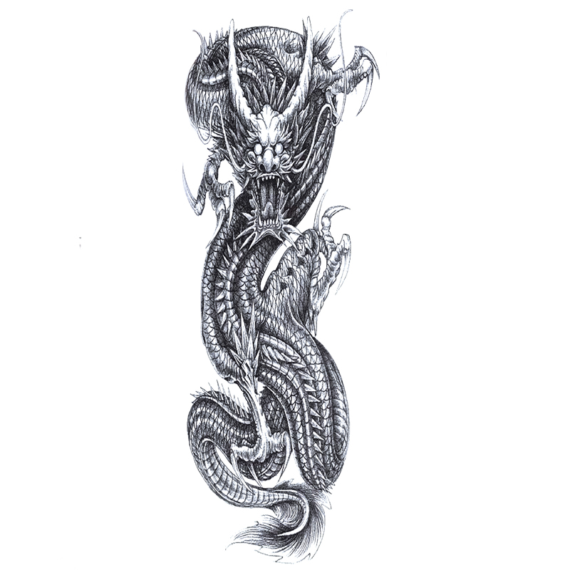 China Dragon Waterproof Temporary Tattoos Men Full Arm Flash Tattoo Art body Harajuku Tattoo Sticker fake tattoo sleeves