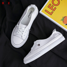 HQFZO Casual Flat Platform Sneakers Round Toe Solid White Shoes Spring Summer Women Walking Vulcanized Tenis Feminino