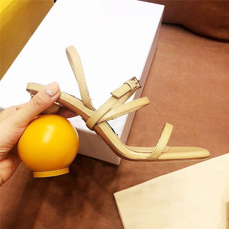 Асимметричная геометрические блоки Сандалии на каблуке Для женщин пикантные узкая полоса на высоком каблуке с открытым носком гладиаторы ... - 3