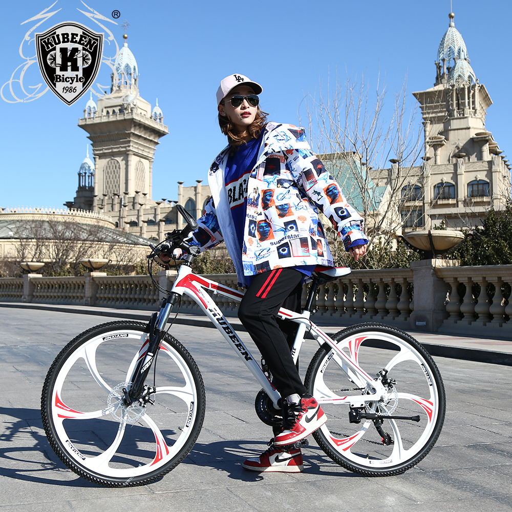 26 pouces vélo en acier 6 couteau roue 21 vitesses en aluminium cadre VTT planche à roulettes pédale huile ressort amortisseur double disque