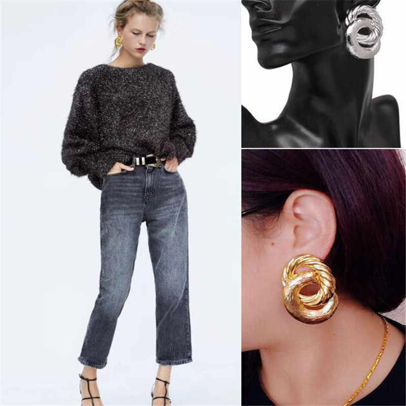 LUSION Brand Extendy Double Circle Stud Earring For Woman 5 colors Fashion Luxury Lady Earrings Statement Jewelry Femme brincos