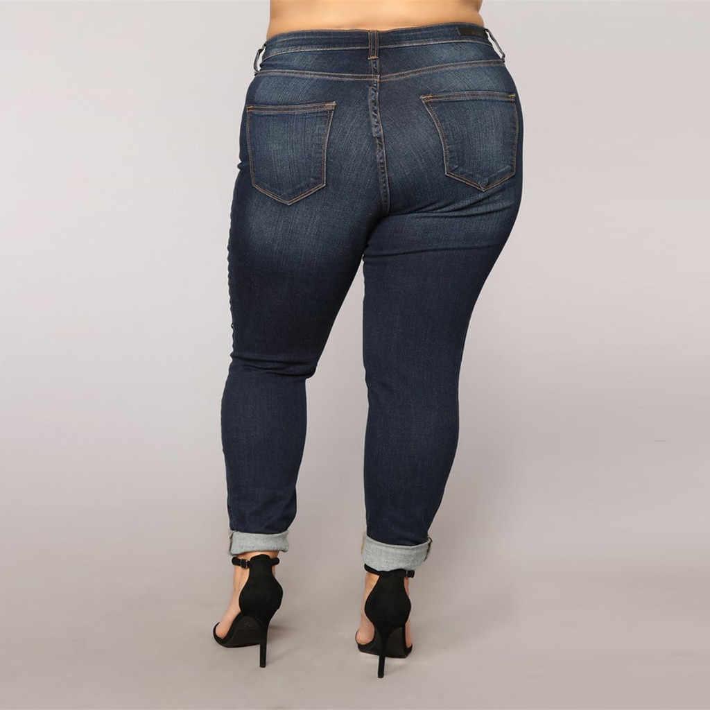 2019 Yeni Geliş Kadın Elastik Artı Boyutu Kot Cep Düğmesi Rahat Çizme Kesim Pantolon Kot Dzinsy Damskie