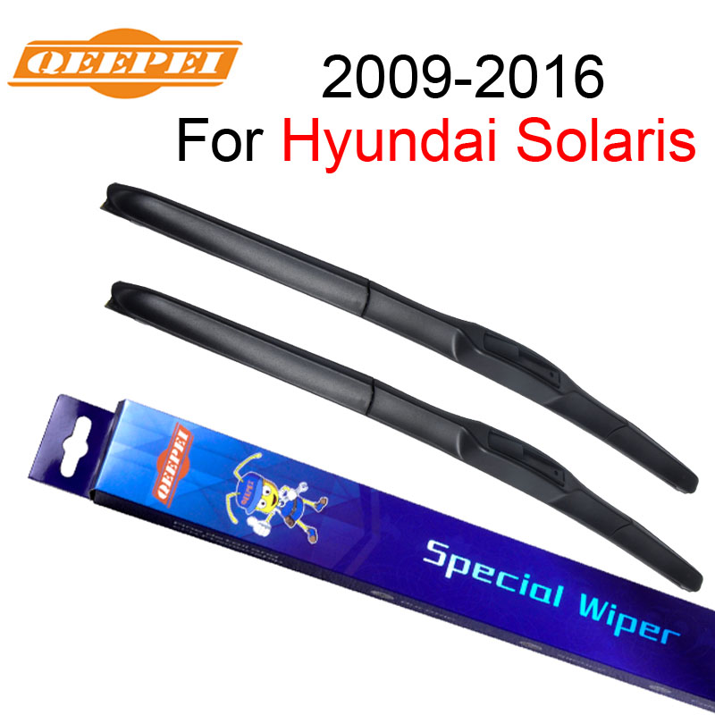 QEEPEI Wiper Blade For Hyundai Solaris 2009-2016 <font><b>26</b></font>''+<font><b>16</b></font>'' Rubber Clean Front Windshield Windscreen Car Accessories CPU702 image