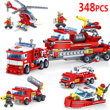 348pcs 4in1 Fire Fighting Trucks Car Helicopter Boat Building Blocks Compatible City Firefighter Figures Children Toys недорого