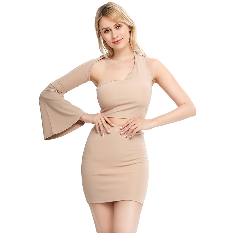 one-shoulder long flare sleeve crop tops skirts 2 pieces set 2020 autumn winter women fashion solid sexy casual sets