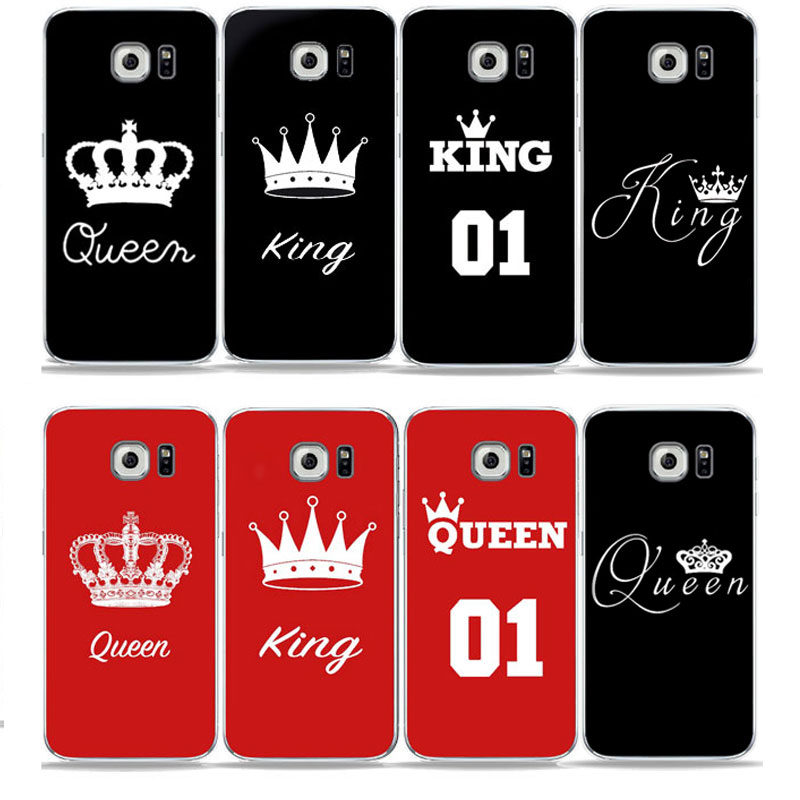 2019 New Style Quotes King Queen Love Pink Red Black Phone Case For Samsung S7 Edge/s6/s9/s8/s8 Plus A6 2018 A7 2017 Soft Tpu Silicone Cover