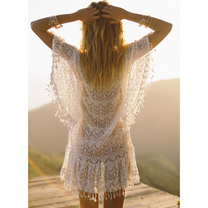 Nuevas llegadas sexy Beach cover up blanco ganchillo borla robe de Plage pareos para las mujeres Swim wear Saida de Praia beachwear coverups