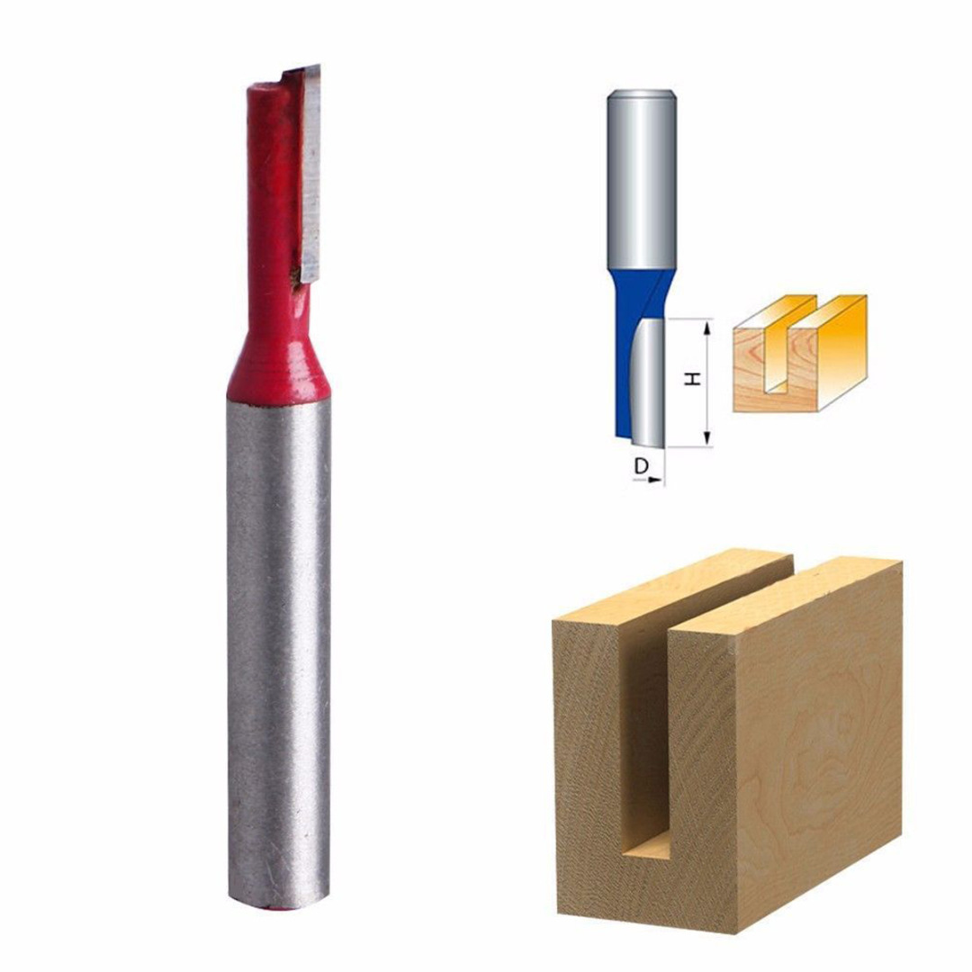 1Pc 1/4 Shank 3/16 Blade Single Flute Tipped Straight Router Carbide Bit Cutter Wood Straight Router Bits Milling Cutter high quality wood milling cutter biscuit jointing router bit carbide tipped 1 2 shank woodworking router bits carbide end mill