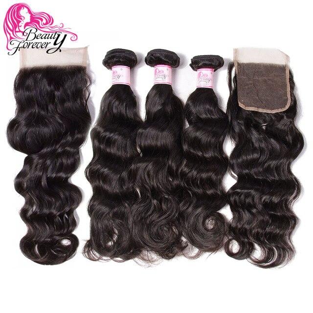 Beauty Forever Natur Wave Brazilian Hair Weaves 3 Bundles With 2pcs Closures 4*4 Same Part Remy Human Hair Bundles With Closure