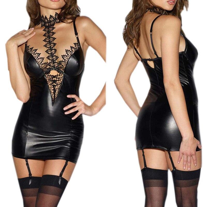 Latex Érotique Lingerie Sexy Babydoll Pour Les Femmes PU Cuir Dentelle Patchwork Jeu de Rôle Cosplay Sexy Costumes de Sexe Lingerie Mini Robe