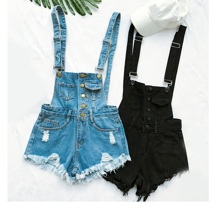 New style college wind cowboys back to wear shorts women summer holes loose Korean version of students show thin suspenders pants (5)