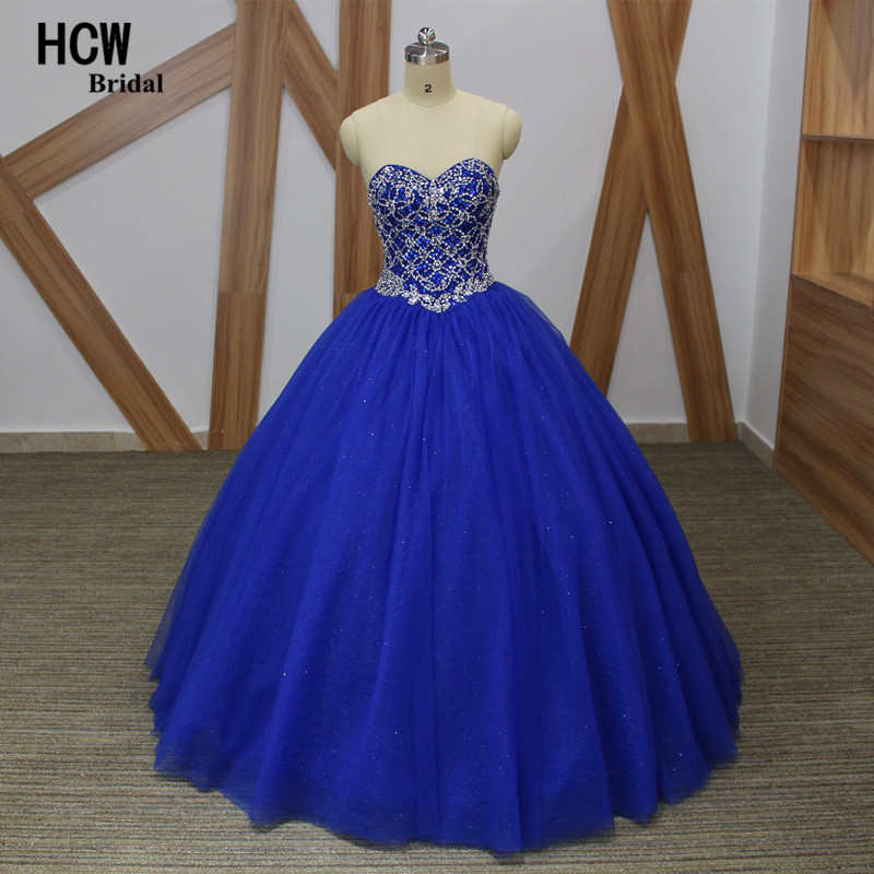 Extravagant Royal Blue Rhinestone Ball Gown Quinceanera Dress 2018 Sweetheart Lace Up Back Bling Tulle 16 Years Quinceanera Gown