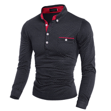 Brand Clothing Men Polo Shirt Pocket Polka Dot Long Sleeve Polos Men Casual Fitted Tee Shirts Man Korean Slim Fit Polo Male 3XLshirt casualshirt inkclothing wholesalers in usa