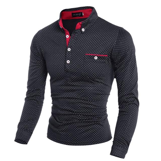 3000416859a ... greece brand clothing men polo shirt pocket polka dot long sleeve polos  men casual fitted tee