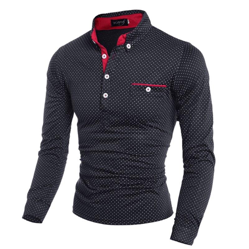 Brand Clothing Men   Polo   Shirt Pocket Polka Dot Long Sleeve   Polos   Men Casual Fitted Tee Shirts Man Korean Slim Fit   Polo   Male 3XL