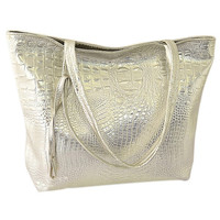 TFTP Solid Crocodile Faux Leather Women Tote Bag Gloden Silver Black Fashion Handbag Large Capacity