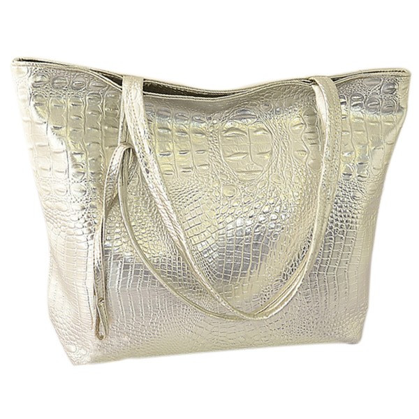TFTP Solid Crocodile faux leather Women Tote Bag Gloden/silver/black fashion Handbag large capacity