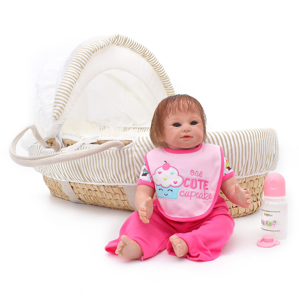 beautiful Boneca Reborn 49cm Smiley face Silicone Vinyl baby Dolls Reborn Bebe soft DIY Doll and Pink pacifier gift for childrenbeautiful Boneca Reborn 49cm Smiley face Silicone Vinyl baby Dolls Reborn Bebe soft DIY Doll and Pink pacifier gift for children