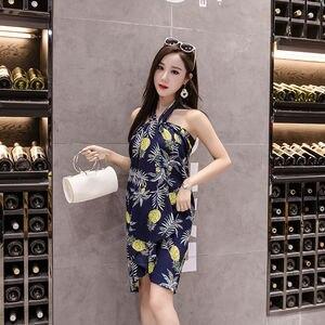 Image 2 - Jupe dété en mousseline de soie imprimée de fleurs, style Empire coréen Harajuku, Vintage, mignon, taille haute, avec nœud mi mollet, collection décontracté