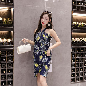 Image 2 - الصيف طباعة زهرة الشيفون النساء تنورة Kawaii الكورية التنانير الإمبراطورية عادية Harajuku منتصف العجل القوس لطيف عالية الخصر Skirts التنانير