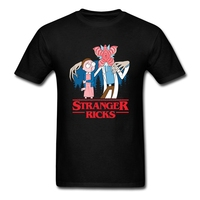 Men S T Shirt Stranger Rick Morty High Quality T Shirts Anime Short Sleeve Cotton Custom