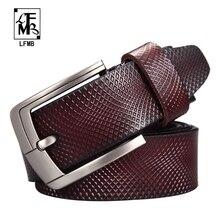 LFMB Cinturón de cuero genuino para Hombre, cinturón masculino de alta calidad, de lujo, envío gratis