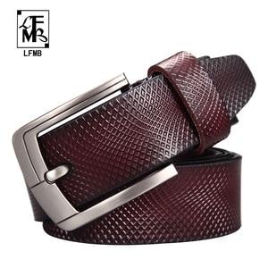 Image 1 - [LFMB] حزام الرجال جلد طبيعي مصمم أحزمة الرجال عالية الجودة الفاخرة الذكور حزام Cinturones Hombre شحن مجاني