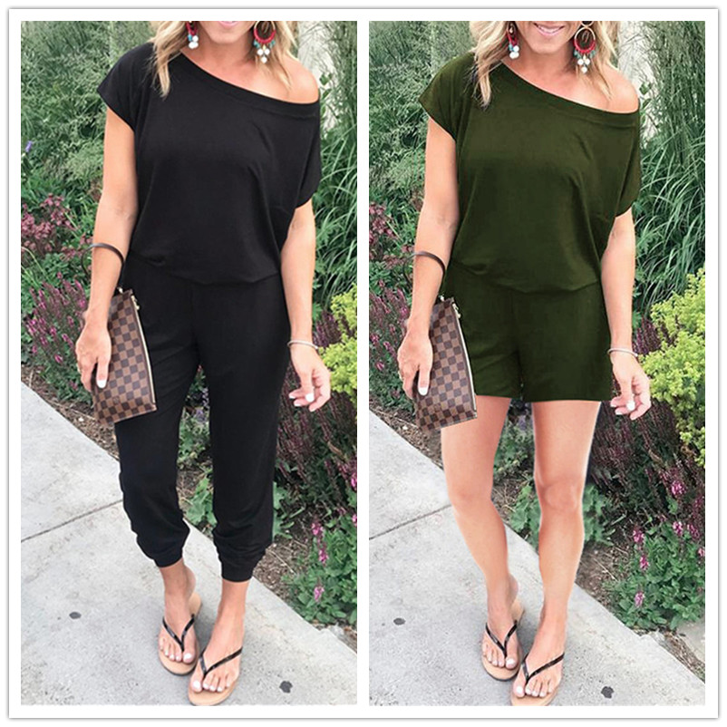 Plus Size S-3XL Summer Sexy Off Shoulder Short Sleeve Jumpsuits Solid Casual Slim Overalls For Women Long Romper Female Mujer