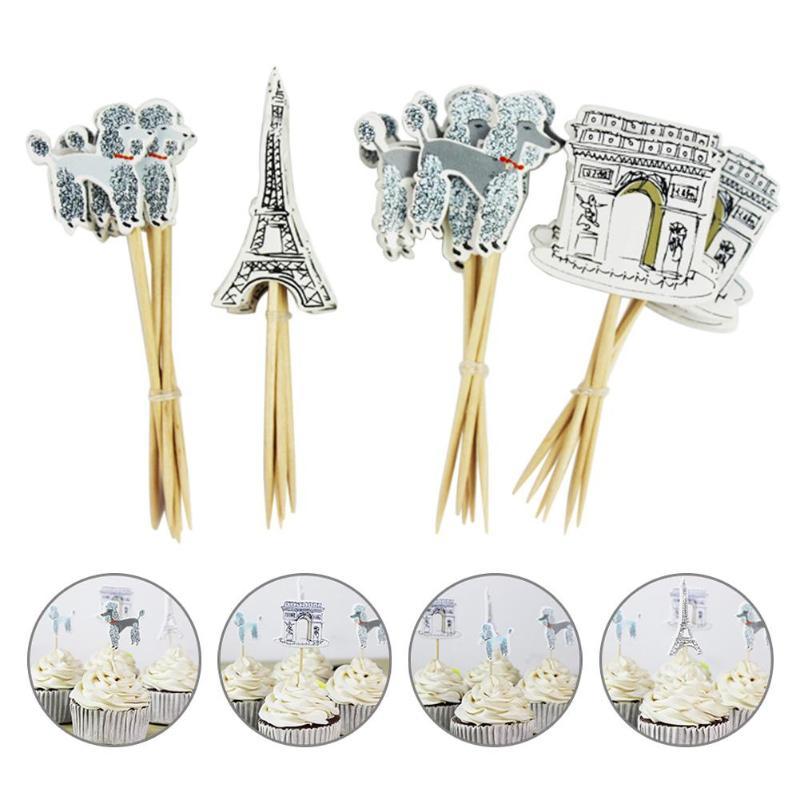 Hot Sale 24pcs Paris Eiffel Tower Cupcake Topper Pick Wedding