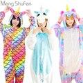 Pijamas de unicornio Rosa conjuntos de pijamas de franela de animales de invierno camisón puntada unicornio ropa de dormir para Mujeres Hombres Adultos