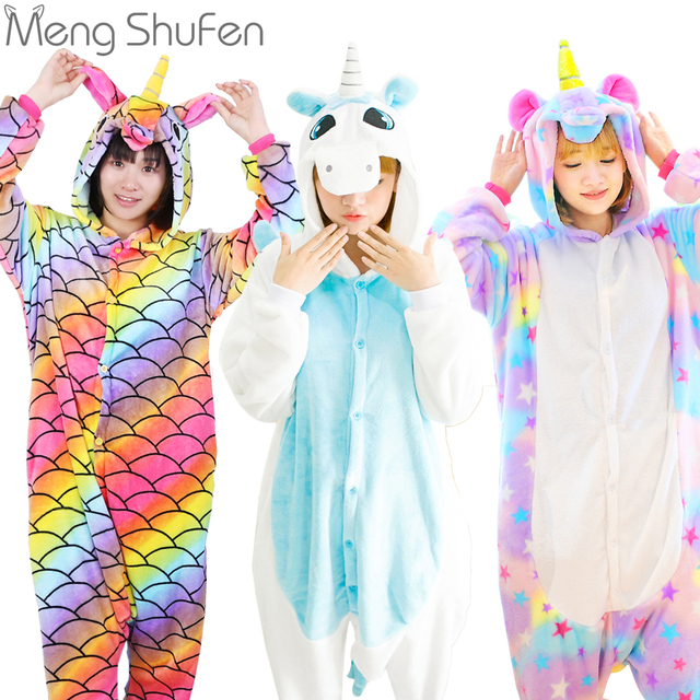 f44419c758 Pink Unicorn Pajamas Sets Flannel Animal Pajamas Winter Nightie Stitch  unicornio Sleepwear for Women Men Adults