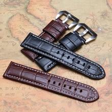 22mm 24mm 26mm correas de reloj correas pulsera marrón negro con línea blanca cosida para relojes deportivos para hombre womens horas nuevo