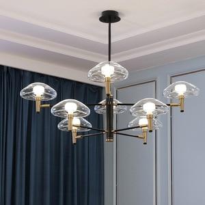 Image 4 - Postmoderne Led Kroonluchter Verlichting Ijzer Glazen Eettafel Deco Armaturen Woonkamer Hanger Lampen Slaapkamer Opknoping Lichten