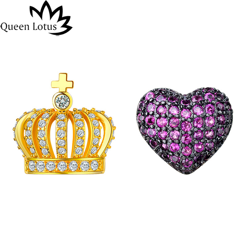 Queen Lotus 2017 new women Jewelery Fashion cute princess crown love micro inlaid AAA zircon female earrings girl gift party