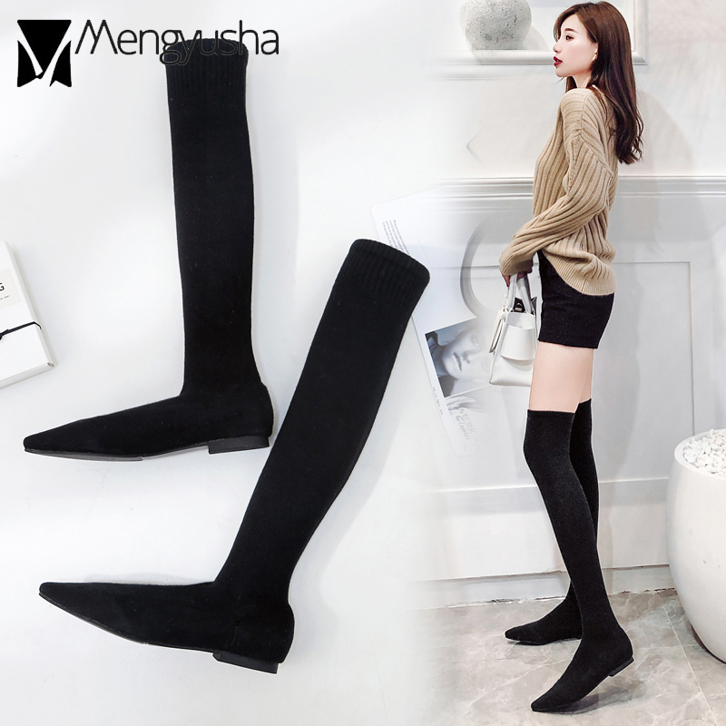 Wool Over Knee Botas Woman Fashion Sock Boots Pointed Toe Designer Keep Warm Snow Booties Woman Stretchy Tall Slim Leg Booties