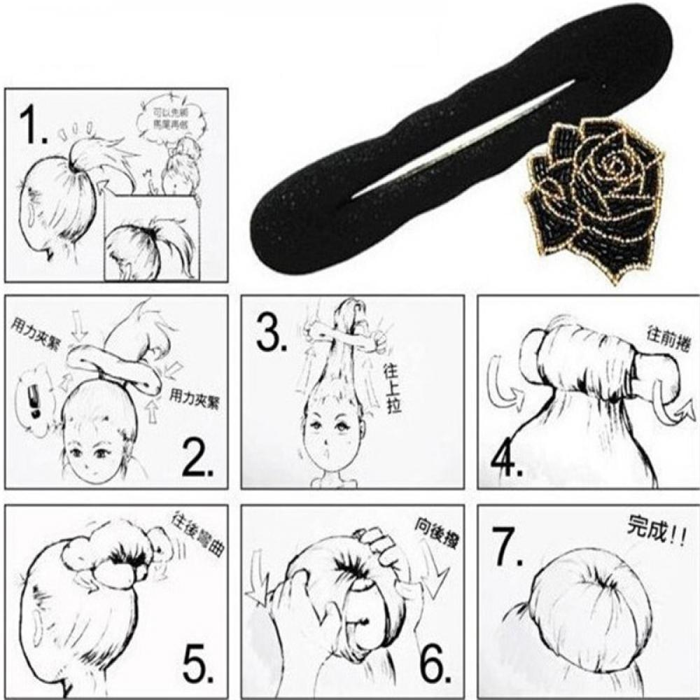 1Pcs 2size Women Magic Foam  disk Device Donut Quick Messy Bun  Hair Clip Hair Accessories Hair Styling Tools