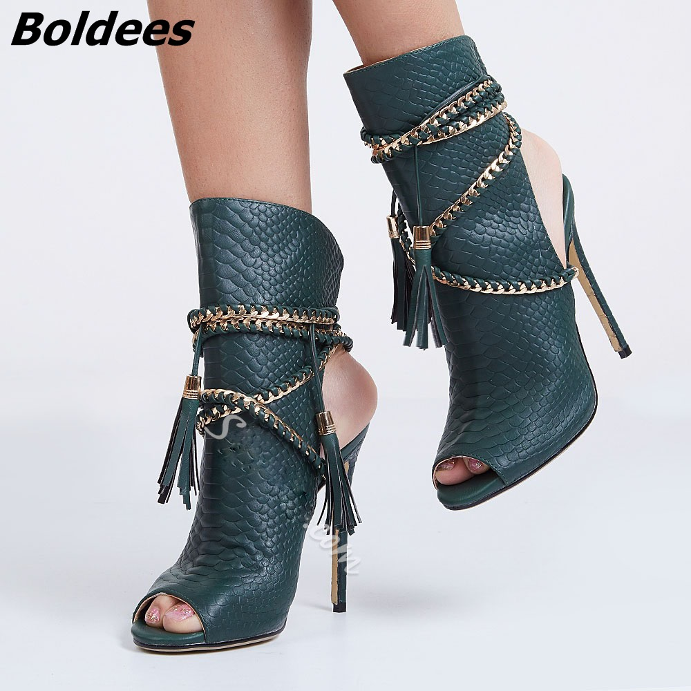 Здесь продается  2017 New Style Women Elegant Snakeskin Peep Toes Stiletto Heel Fringe Sandals Woven Ropes Ankle-Wrap Tassel Dress Sandals Bootie  Обувь