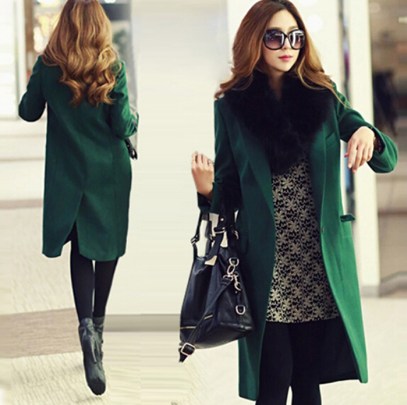 Korea Latest Fashion Women Winter Coat Super Quality Woolen Cloth Coat Elegant Pure color Leisure Loose Slim Wool Coat G0558