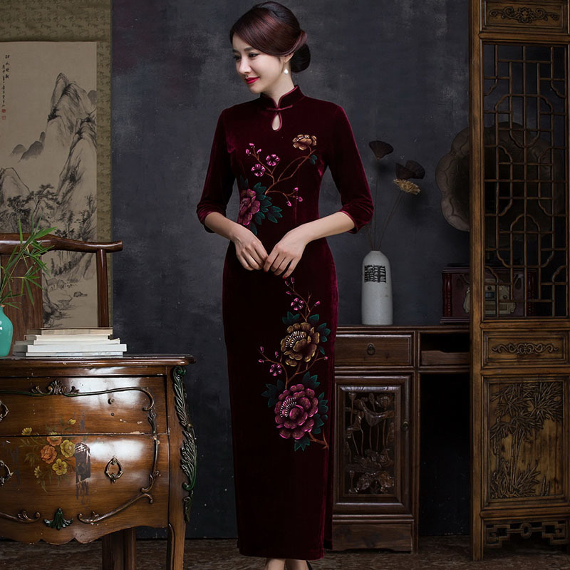 Wine Red Velour Traditional Chinese Qipao Dresses Stretch Cheongsam Classic Dress Long Qi Pao Formal Vestido Oriental Vintage