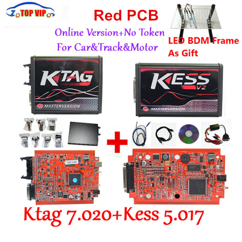 Newest KTAG 7.020 100% No Token Limited Kess 5.017 + KTAG V7.020 Chip Tuning Kit KTAG 7.020 Master V2.23 E+LED BDM Frame Kess V2 new version v2 13 ktag k tag firmware v6 070 ecu programming tool with unlimited token scanner for car diagnosis