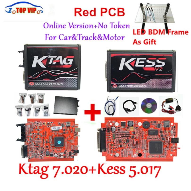 Newest KTAG 7.020 100% No Token Limited Kess 5.017 V2.47 Chip Tuning Kit KTAG 7.020 Master V2.23 E+LED BDM Frame Kess V2