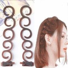 2pcs Women Hair Styling Former Magic Hair Twist Centipede Styling Braid Clip Stick Bun Maker DIY Tool hair Accessories Hot Sale
