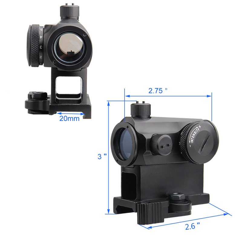 Tactical Mini 1X24 Red Dot Sight Scope with QD Quick Release Mount for Hunting Airsoft RL5-0039-11