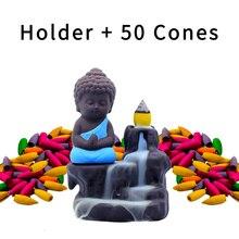 4 Colors Backflow Incense Burner Ceramic Little Monk Stick Holder Home Decor Aromatherapy Censer add 50 pcs H