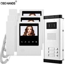 有線 4.3 ビデオインターホンシステムドアホンカメラとドアベルカラービデオドア電話 3 用マルチアパート/ホーム